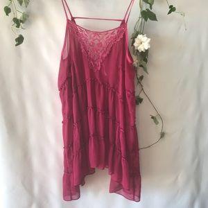 Free People Magenta Pink Slip Dress